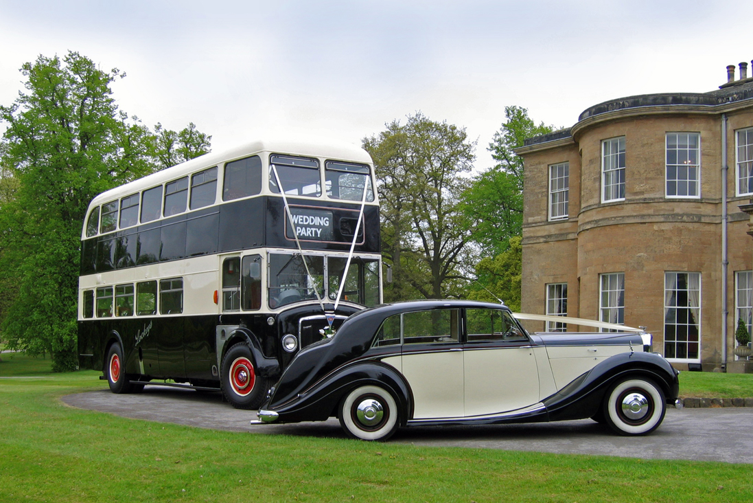 1952 Bentley Freestone & Webb with matching Double Decker Bus for weddings