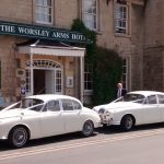1968-jaguar-mk2-and-matching-daimler-v8-250 at the worsley arms wedding reception
