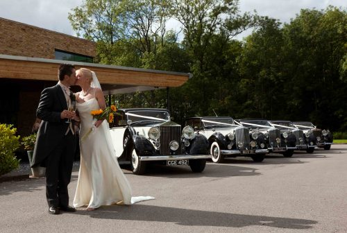 Bruno and Angela with their five matching wedding cars