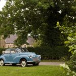 1960 Morris Minor Convertible ready for a wedding in yorkshire